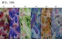 150cm width printed soft chiffon fabric leaves pattern for scarf and headband LS-J7395