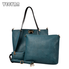 VEEVANV 2017 women handbags fashion women shoulder bags high quality famous brands handbags leather bags trapeze composite bags(China)