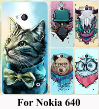 Hard Plastic Soft TPU Silicon Phone Case For Microsoft Nokia Lumia 640 N640 DUAL SIM Cover Colorful Painted Beer Cat Phone Case