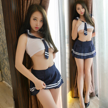 Buy Women Sexy Lingerie Schoolgirls Tie Striped+Perspective Vest+Mini Skirt Cosplay Sexy Costumes Babydoll Erotic Lingerie PornYQ142