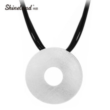 Shineland Maxi Collier Men Jewelry Collares Vintage Multilayer Black PU Leather Hollow Drawing Round Statement Necklace ForWomen(China)