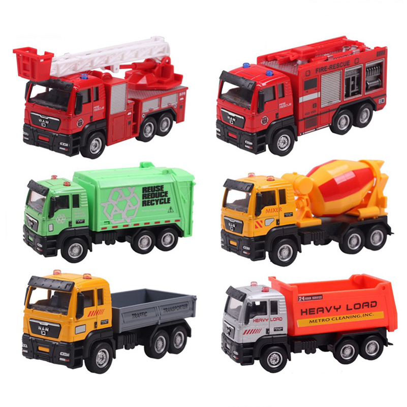 Mini Toy Car Sliding Alloy Municipal Engineering Vehicle Model Fire Truck Car Model Excavator Garbage Truck Toy For Kids Gifts(China (Mainland))