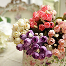15 Heads Colorful Silk Roses Artificial Flowers Bouquet For Home Wedding Decoration Small Autumn Rosa Bride Bunch Tea Bud
