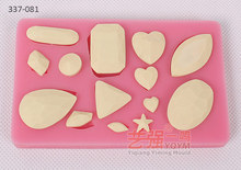 YQYM New arrival free shipping silicone diamond mold,heart silicone mold,3d silicone mold shapes mould