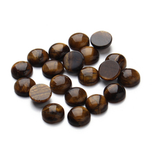 20pcs/pack Natural Bead/Tiger Eye Cabochon 10 12mm Jewelry Necklace Accessories Dome Cabochons Cameo Flatback Crafts Materials(China)