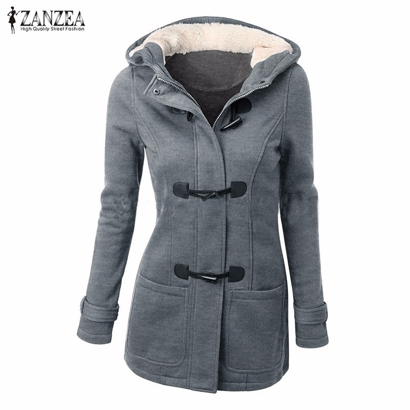 Thick Fleece Hoodies Sweatshirts 2016 Winter ZANZEA Women Zipper Long Sleeve Hooded Jacket Coats Casual Slim Overcoats Outwear  -  Top Fashion Clothes store
