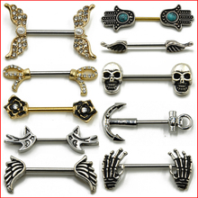 1 Pair 316L Surgical Steel Barbell Piercing Skull Anchor Wing Hand Nipple Shield Ring Bar Body Jewelry 16g