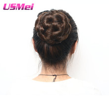 USMEI Synthetic Hair Chignon Clip in Black Brown Mix Color Hair pieces Elastic Fake Hair Bun Updo Accessories One piece Curly
