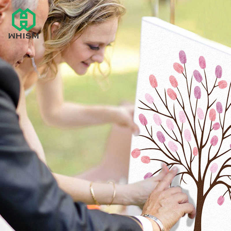 WHISM Wedding Party Guest Book for Engagement Canvas Fingerprints Guestbook Picture Album Personalized DIY Finger Print Painting