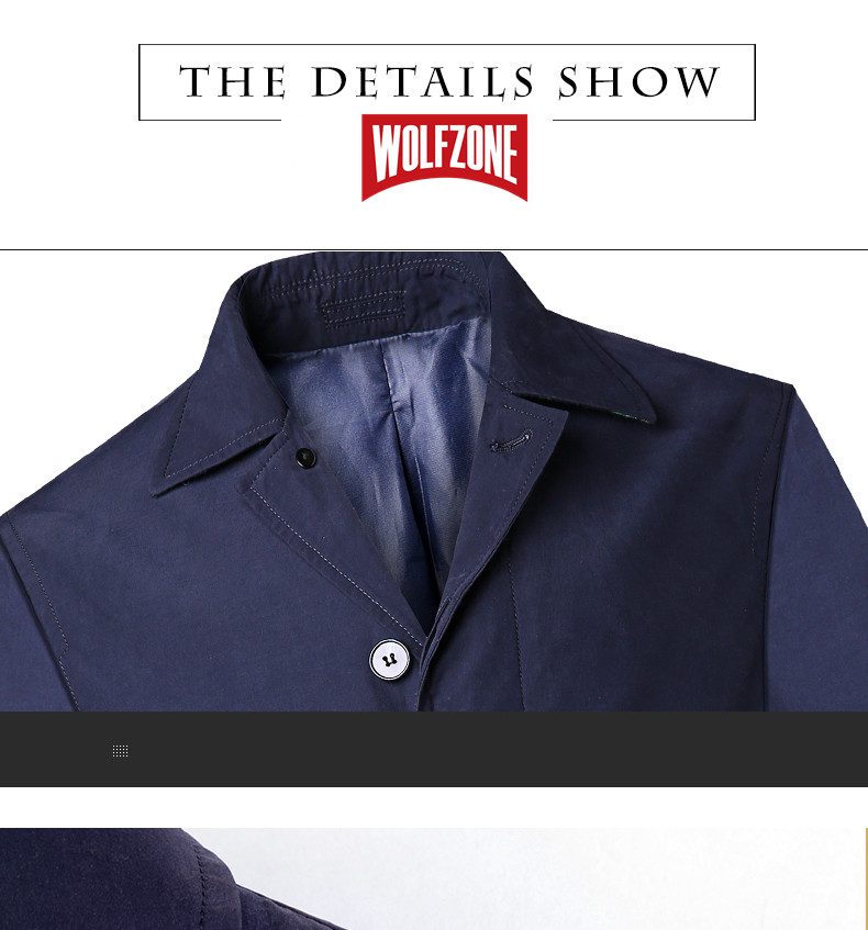 2018 New Spring Mens Casual Trench Coat Khaki blue Longline Thin Windbreaker Coats  (10)