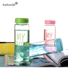 Keythemelife Water Bottles Portable Plastic Bottle Colorful transparencies Juice Tea Coffee Drinkware E5