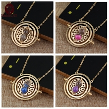 Free shipping Hot Sale Time Turner Necklace Hermione Granger Rotating Spins Gold Hourglass Men and women necklace