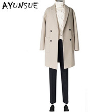 AYUNSUE Double Breasted Cashmere Brand-Clothing Turn-down Collar Wool Coat Men Jacket