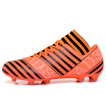 MAULTBY Men's Black / Orange High Ankle AG Sole Outdoor Cleats Football Boots Shoes Soccer Cleats #S31705O
