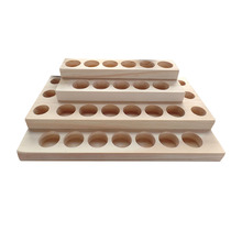 New Arrivals Essential Oil Wooden Tray 30 holes 5ml - 20ml bottles handmade Natural pine wood display rack Demonstration station