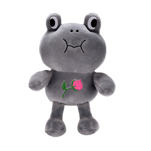 Plush Frog Toys Stuffed Cartoon Animal Frogs Dolls with Sucker for Baby Kids Birthdays Gifts The Frog Prince Dolls Gray 10''