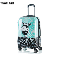 "TRAVEL TALE 20""24 inch Zebra printing children suitcase kids travel trolley spinner luggage"