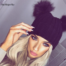 SheMujerSky Pom Pom Hat Female Red Knitted Beanies Two Fur Ball Thick Cap Ladies Black 2017 Autumn Winter