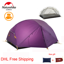 Naturehike DHL Free Shipping 3 Season 2 Person Barraca Camping Tent 20D Silicone Double Layer Waterproof Ultralight Dome Tent