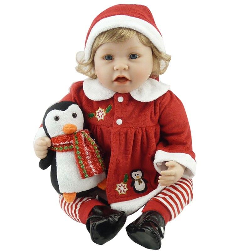 Bebe Doll Reborn 22inch Silicone Reborn Dolls Toys 55cm Lifelike Newborn Bonecas Toys Realistic Brinquedos With Plush Penguin<br><br>Aliexpress