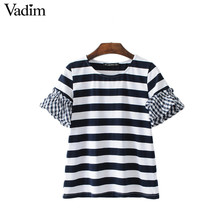 Vadim women elegant butterfly sleeve patchwork striped T shirt o neck summer casual tees summer casual tops camiseta DT1088