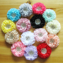 Hot Sale! 30pcs/lot 15colors Satin chiffon flower with rhinestone pearl center for Girls  headbands hair ornaments