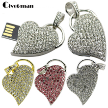 Pretty Metal Crystal Heart USB Flash Drive Crescent Heart Special Gift Pendrive 4GB 8GB 16GB 32GB Diamante Memory Flash Drive