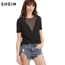 SHEIN Summer 2017 Women Clothing Summer T-shirt for Women Black Eyelet Mesh Boat Neck Short Sleeve Sexy T-shirt(China)