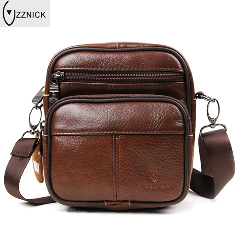 Top cowhide Genuine Leather Crossbody Men Bag Shoulder Bags For Men Messenger Casual Male flap Waist Packs Bag Small New 2017(China (Mainland))