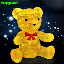 Happyxuan Educational toys 3D Crystal Puzzle Plastic  Bear Home Decoration Birthday Gift for Children