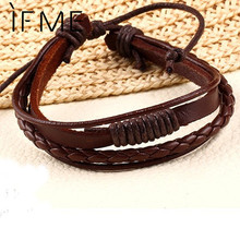 New Fashion Braid Leather Wrap Chain Bracelet jewelry Vintage Men Rope Bracelets Wholesale Punk Style Wristband Brown Multilayer