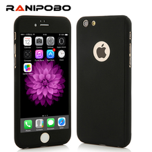 Full 360 Degree Cover Case For iPhone 7 6 6S Plus 5 5S SE Case Luxury Armor Cases with Tempered Glass Back Cover For iPhone7