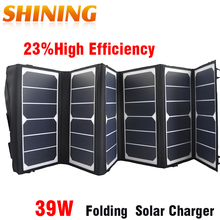 Sunpower 39W Dual USB 23% High Efficiency Big Power&Compact With DC/USB Output Folding Solar Panel Charger Battery For Cellphone