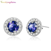 Yunkingdom 5 colors Fashion Paragraph Hot Selling Gold Color Earrings Blue Zirconia Stud Earrings Small Stud Earrings For Women
