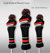 Free Shipping Red And Black 3pcs/set Knitted Stripes Wool Driver Green Golf Club Head Cover Soft and Washable(China)