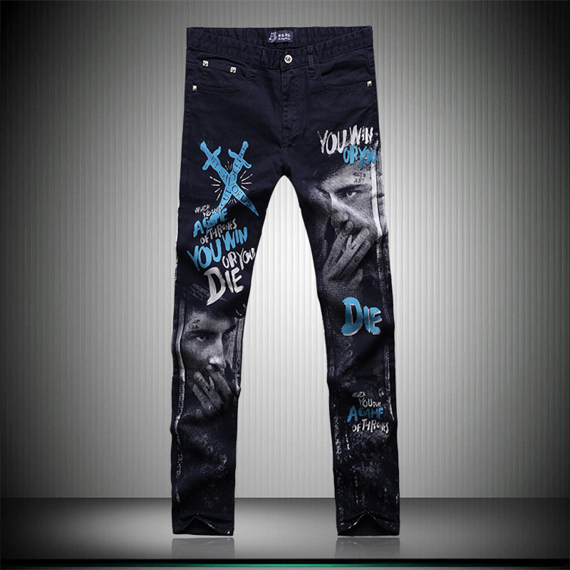 Fashion personality colored printing boutique tide brand jeans High-quality Korean style slim straight classical jeans men 28-38Одежда и ак�е��уары<br><br><br>Aliexpress
