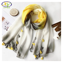 1PC 2017 Spring New Arrival Acrylic Cotton Fashion Women Long Tassels Scarf Summer Thin Woman New Viscose Shawls Pashminas(China)
