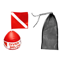 Diving Swimming Fin Shoes Mesh Bag + Scuba Flag Marker with Inflatable Buoy for Freely Adjustable Diving Swimming Equipment(China)