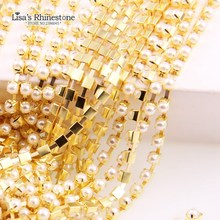 2017 New Ivory Pearl Claw Sew On Close/Sparse Chain Bead Trim Strass Wedding Pearl Decoration String Crafting For DIY Accessory