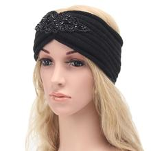 Bohemia winter women headband Knitting wool girl hairband Crochet Turban diamond female ornaments striped para mujer flower