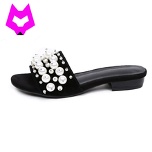 Wolf Who Summer slides 2017 luxury brand Diamonds string bead slip on flip flops for woman cow leather ladies flats Sandals