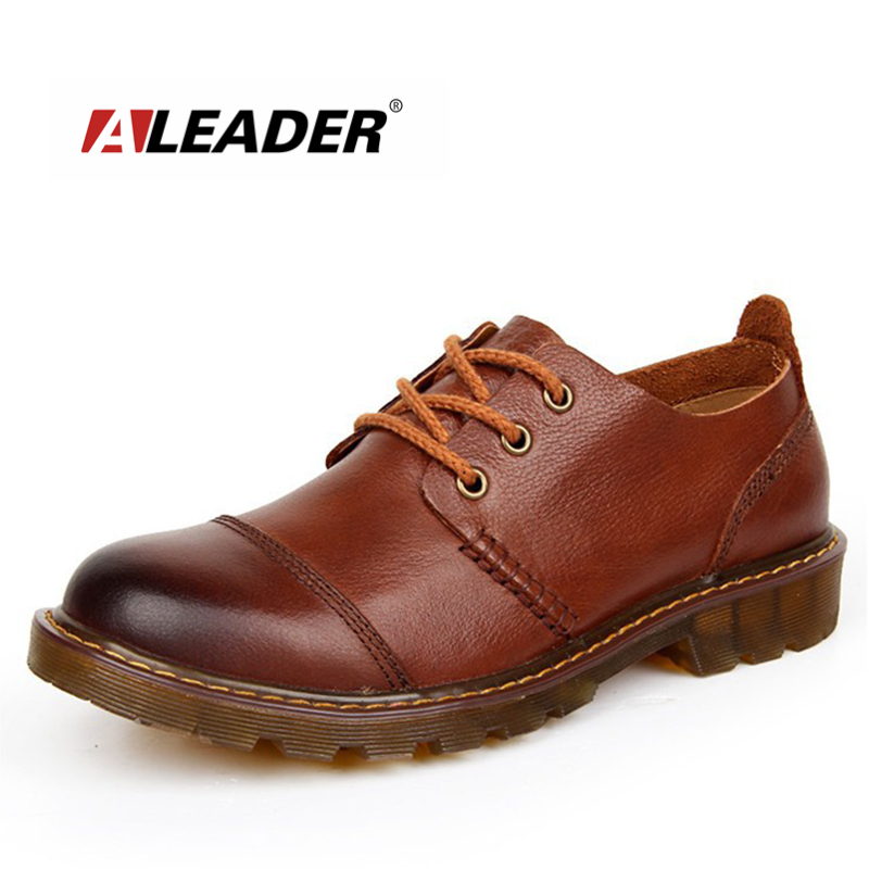 Aleader Men Leather Shoes Casual New 2016 Genuine Leather Shoes Men Oxford Fashion Lace Up Dress Shoes Outdoor Work Shoe Sapatos<br>