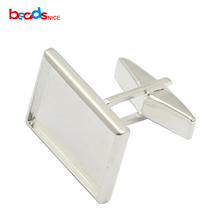 Beadsnice Solid 925 Sterling Silver Cufflink Findings Mens Jewelry Cufflink Blanks with Rectangle Bezel Setting Handmade ID30929