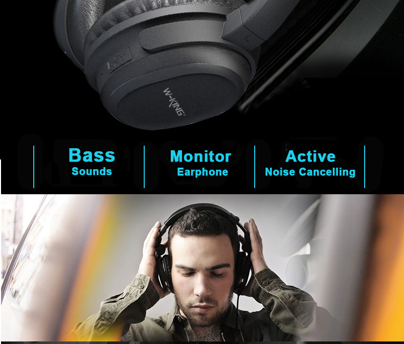 W-king Headphones Over-ear game Bluetooth Headphones with Microphone Active Noise-Cancellation Bluetooth Wireless Headphone