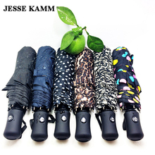 JESSE KAMM New arrive Gentles Ladies Fully-automatic Aluminium Fiberglass Strong Frame Three Folding compact big rain umbrella(China)