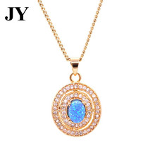 JY New Arrival Gold Color Fire Blue Opal Pendant Party Necklace For Women Charm Vintage Jewelry Best Love Gift For Friend(China)