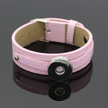 Multicolor Snap Leather Bracelets Pink Buttons Jewelry For Women Fit 18mm/20mm DIY Snap Buttons(China)