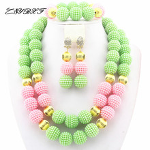 Apple Green/Peach Pink Nigerian Pearl Beads Ball Jewelry Set Costume African Jewelry Set  Wholesale Free Shipping HD7818