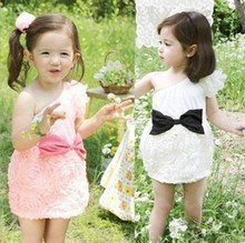 5pcs/lot free shipping 2014 new rosette dresses for baby girls wholesale valentine's day girls single shoulder chiffon dress
