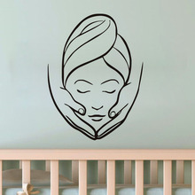 Lady Make Face Spa Vinyl Wall Sticker For Beauty Salon Spa Shop Wall Decor Removable Living Room Murals HomeDecor